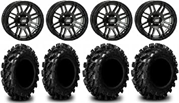 Bundle 9 Items System 3 ST-4 Black 14 Wheels 29 XM310 Tires 4x156 Bolt Pattern 3//8x24 Lug Kit