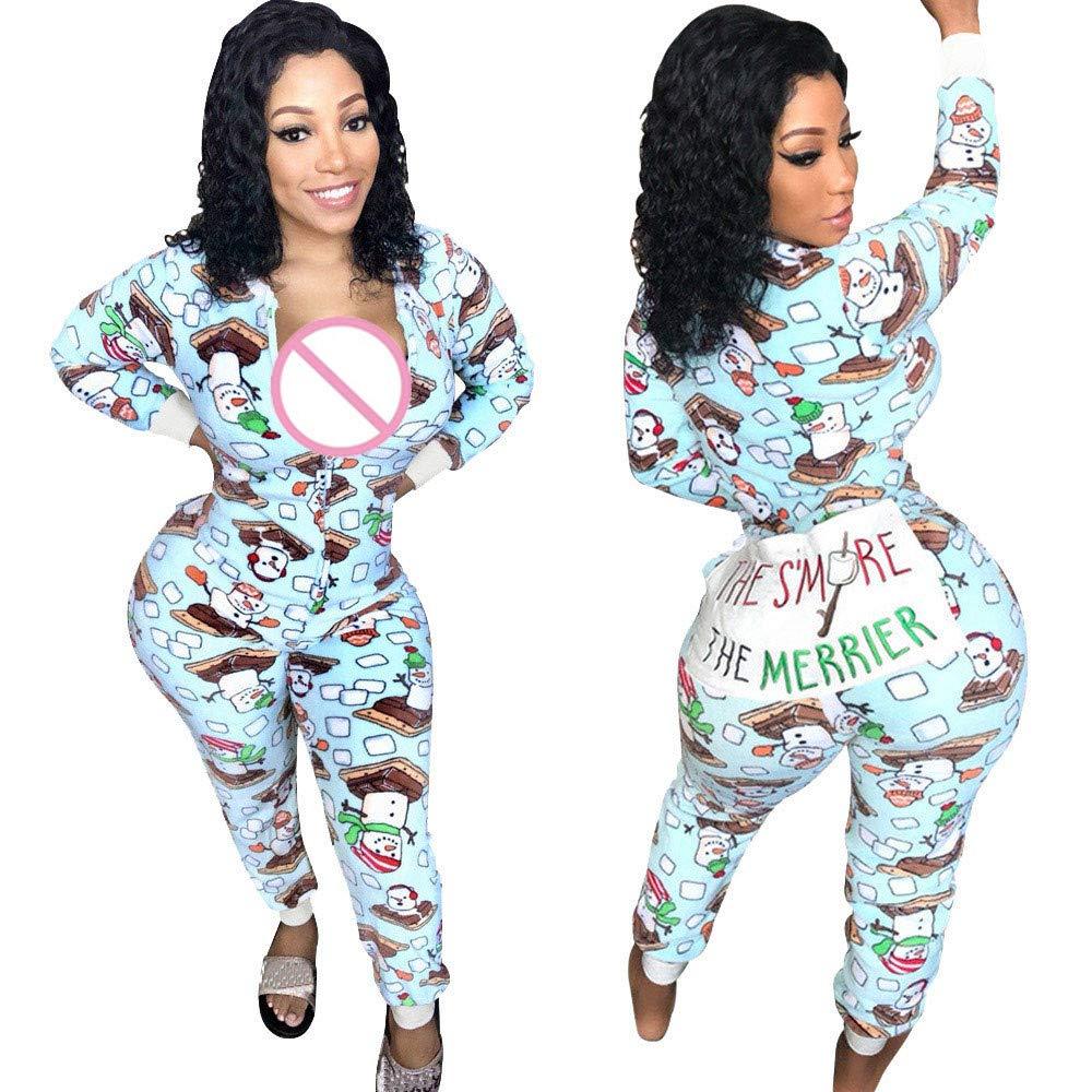 efe208d45f50 Zainafacai Cute Rompers-Adult Ladies Girls Pajamas Sportswear Hooded  Jumpsuit 2018 (Blue