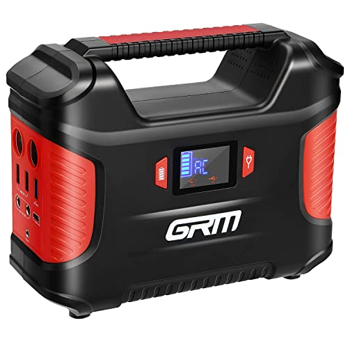 GRM Portable Power Station, 155Wh 42000mAh Solar Battery Generator with QC3.0 Type-C Port, 2 LED Flashlights, Emergency Backup Power Supply for Camping Fishing CPAP Outdoor Travel