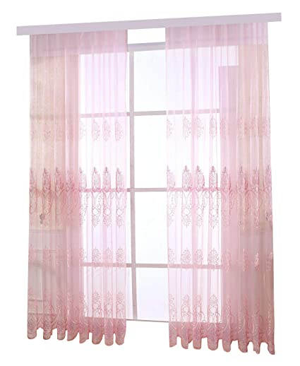 Amazon.com: Aside Bside Pink Romantic Floral Pattern Voile Sheer ...