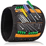 Magnetic Wristband with 15 Strong Magnets for Holding Screws, Nails, Drill Bits - Best Tool Organizers and Gift for Men…