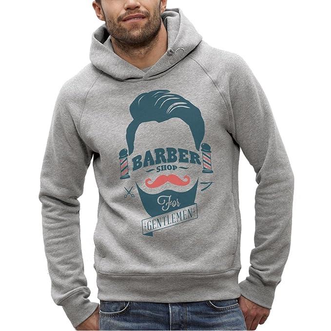 Bio-Sudadera con capucha, color Gris, Barber shop-XS-del hombre a XXL: Amazon.es: Ropa y accesorios