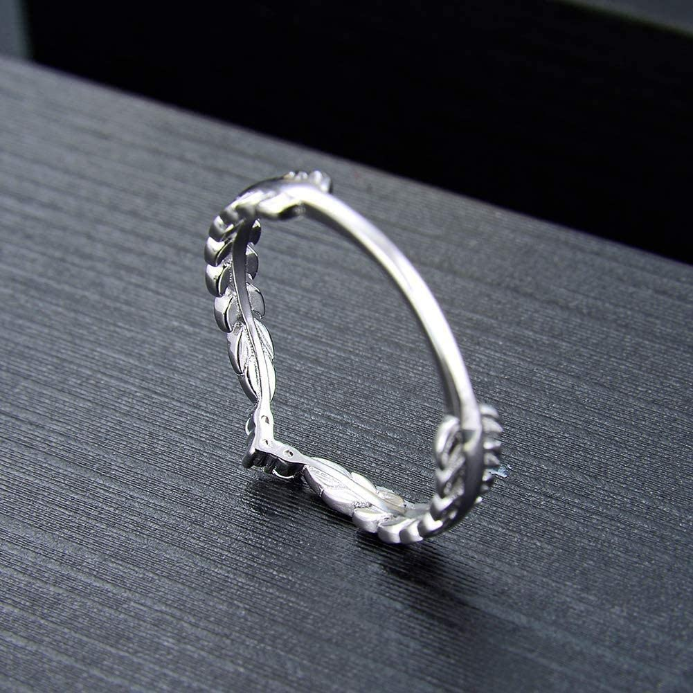 Ginger Lyne Collection V Shape Leaf Enhancer Band Sterling Silver Anniversary Wedding Ring
