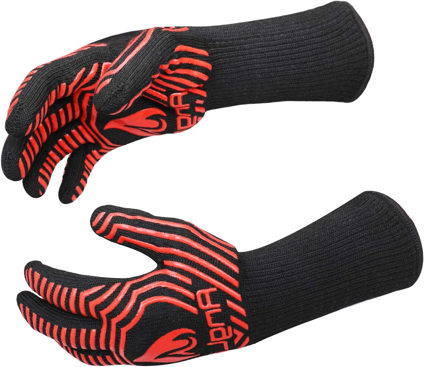 AngLink 1472℉ Extreme Heat Resistant BBQ Gloves, Food Grade Kitchen Oven Mitts - Flexible Oven Gloves with Cut Resistant, Silicone Non-Slip Cooking Hot Glove for Grilling, Cutting, Baking, Welding