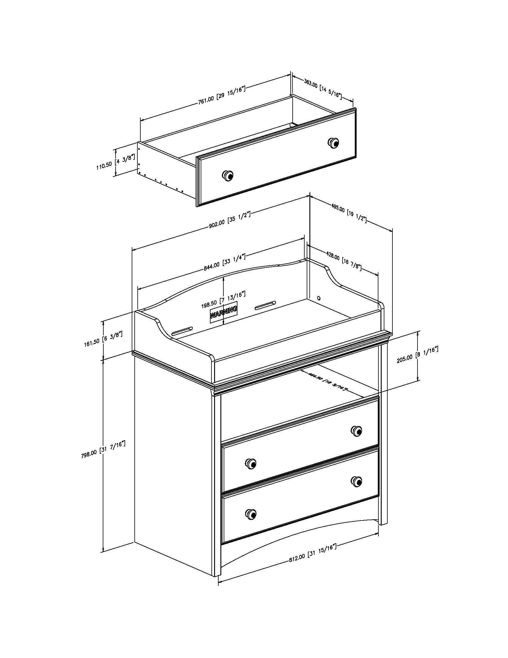 South Shore Furniture, Sweet Morning Collection, Changing Table, Royal Cherry by South Shore