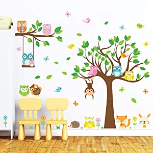decalmile Owl and Tree Large Wall Decals Forest Animals Birds Monkey Wall Stickers Baby Nursery Kids Bedroom Playroom Wall Decor (Tree Size: 41