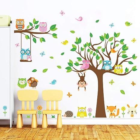 Forest Friends Tree Decal Set Fox Nursery Owl Nursery Tree And Animals Wall Sticker Set Baby Nursery Wall Decals Kids Wall Decals