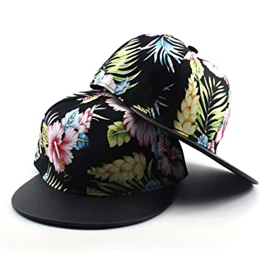 13bb1a629cd Image Unavailable. Image not available for. Color  HBBCEED Women Hawaiian  Floral Print Snapback Hats Fresh ...