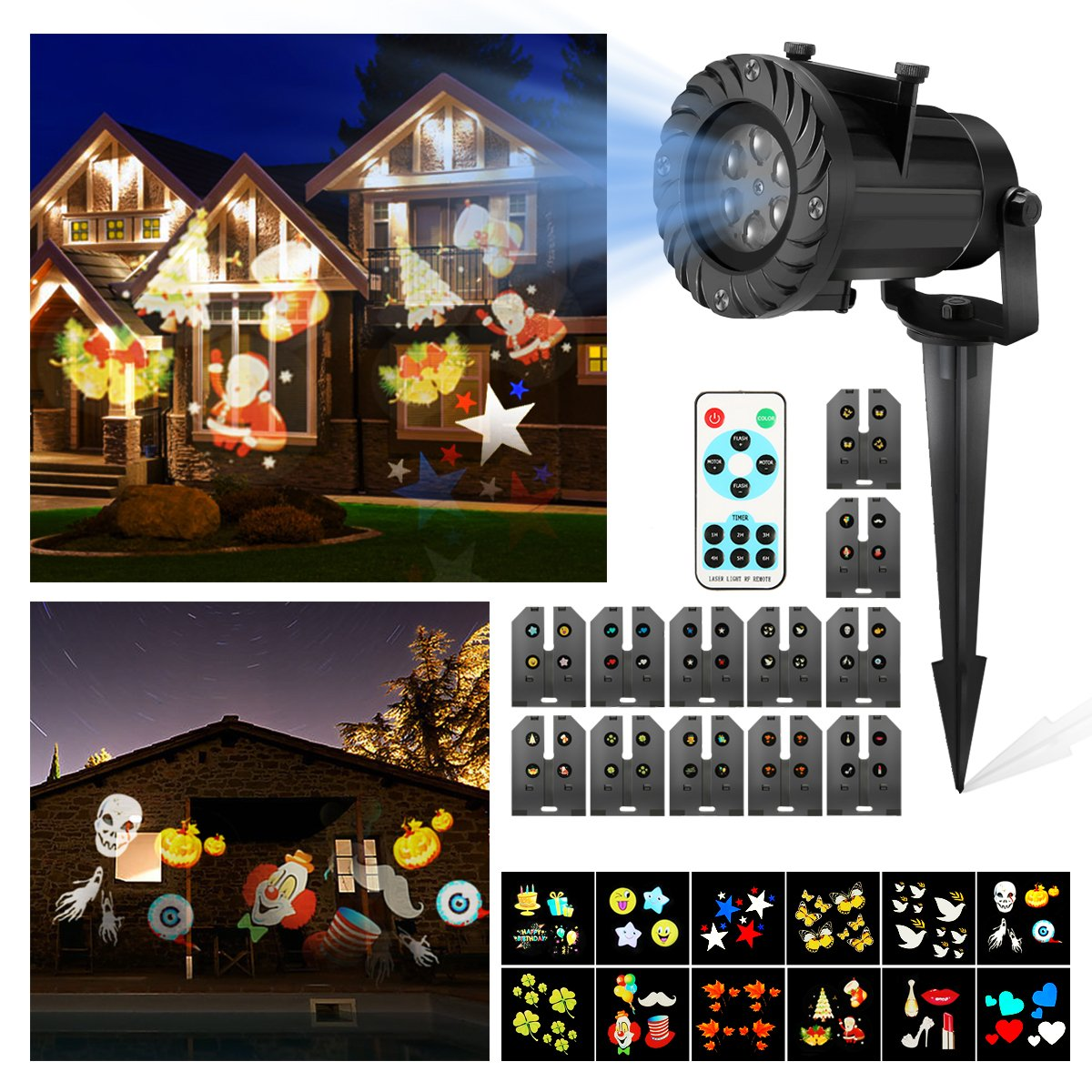 Christmas Projector Lights,CAMTOA 12 Pattern LED Light Projector/star shower Projector light - Waterproof with RF Wireless Remote Perfect for Patio Christmas Halloween Holiday,Party Decoration