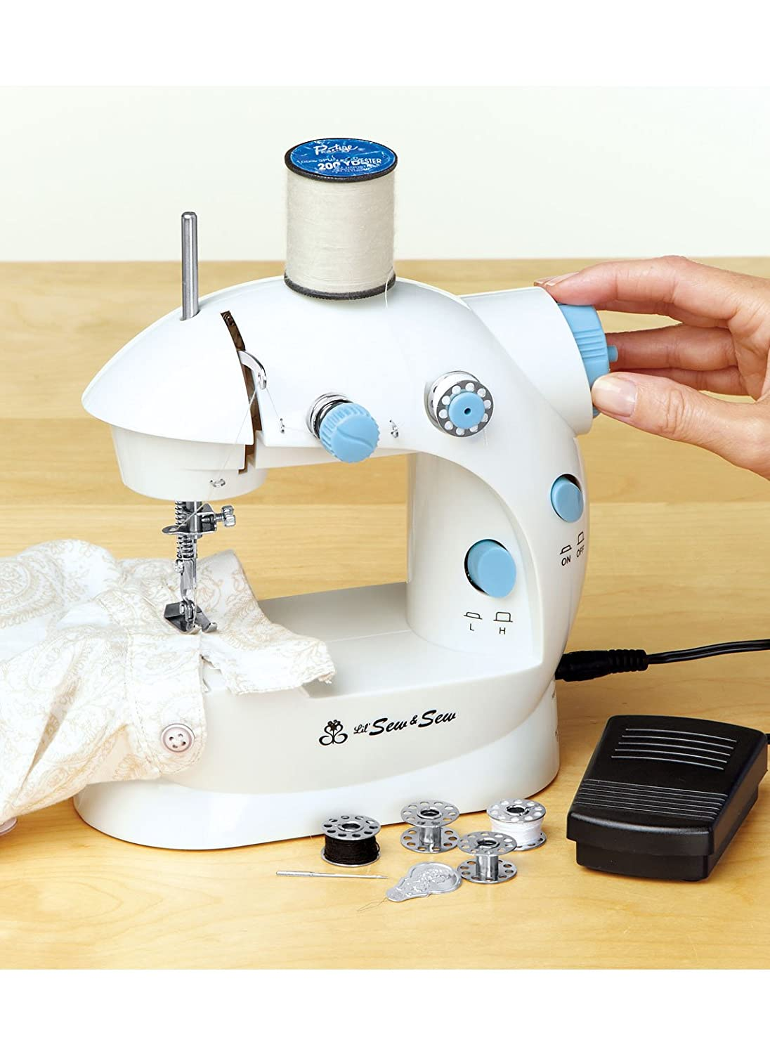 MICHLEY LSS-202 Lil' Sew & Sew Mini 2-Speed Sewing Machine, White