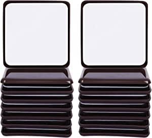 "Ezprotekt Square Brown 16 Value Pack Self-Stick Furniture Sliders 2-1/2"" Furniture Moving Pads Heavy Duty Adhesive Furniture Movers for Carpet"
