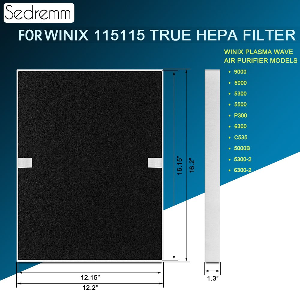 True HEPA & 4 Carbon Prefilter Replacement Filter for Winix 115115 Compatible with Winix Plasma Wave Air Purifier Models 9000 5000 5300 5000B P300 5500 6300 C535 5300-2 6300-2 by Sedremm