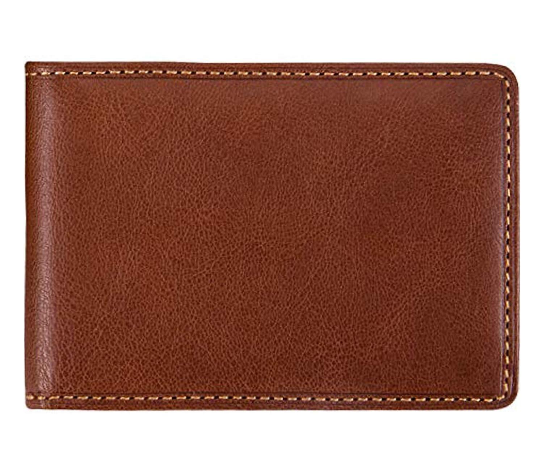 Mens Minimalist Money Clip Bifold ID Wallet Credit Card Holder Italian Leather by Tony Perotti