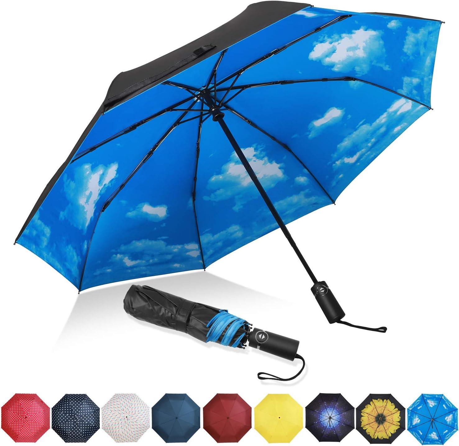 Eono by Amazon - Paraguas Plegable Automático Impermeable, Paraguas de Viaje Compacto a Prueba de Viento, Folding Umbrella, Recubrimiento de Teflón, Dosel Reforzado, Mango Ergonómico, Cielo