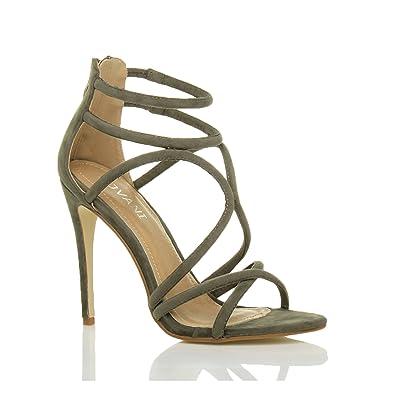 Lanières Chaussures Cheville Talon Haut Fête Femmes Sandales Soirée vO1EqAwtw
