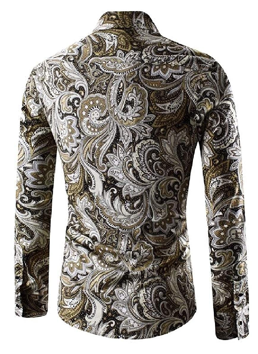 Smeiling Mens Slim Fit Printing Lapel Long Sleeve Button Front Shirts