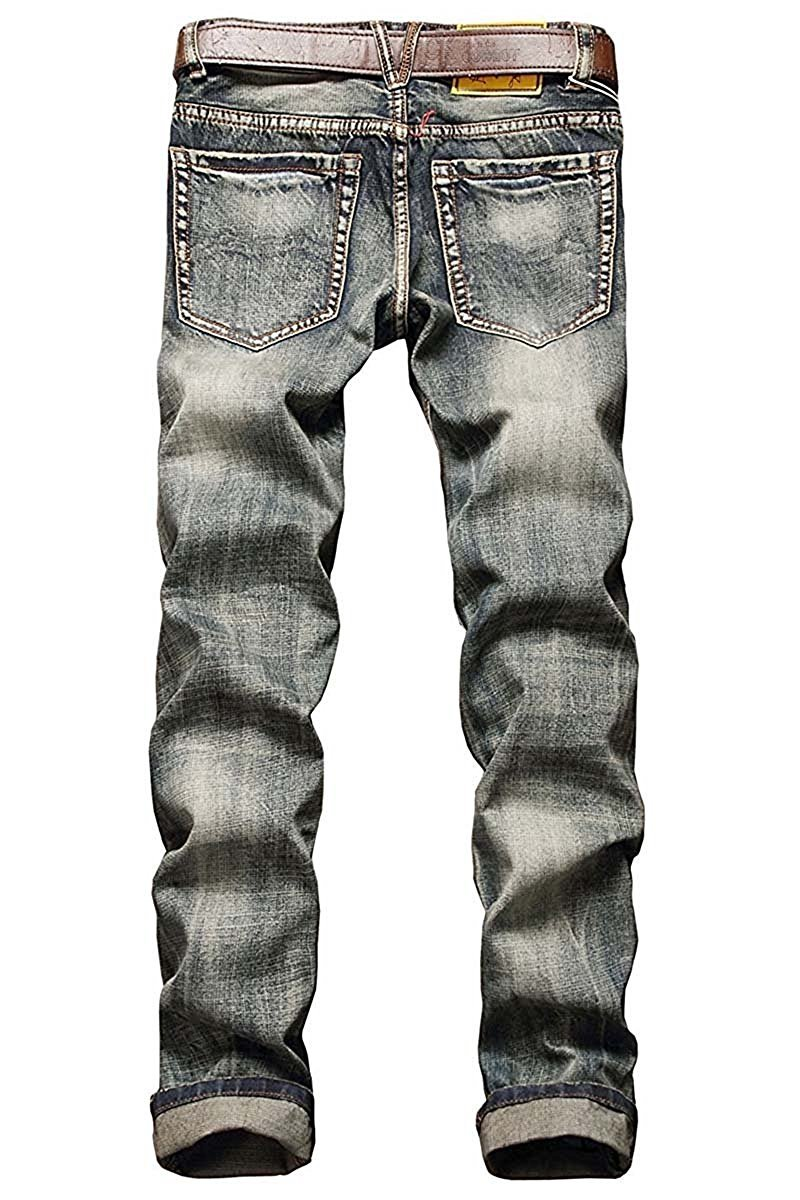 TOPING Fine Fashion;Handsome Men's Ripped Slim Fit Denim Jeans Jogger Pants Vintage Style With Broken Holes Gold03W30