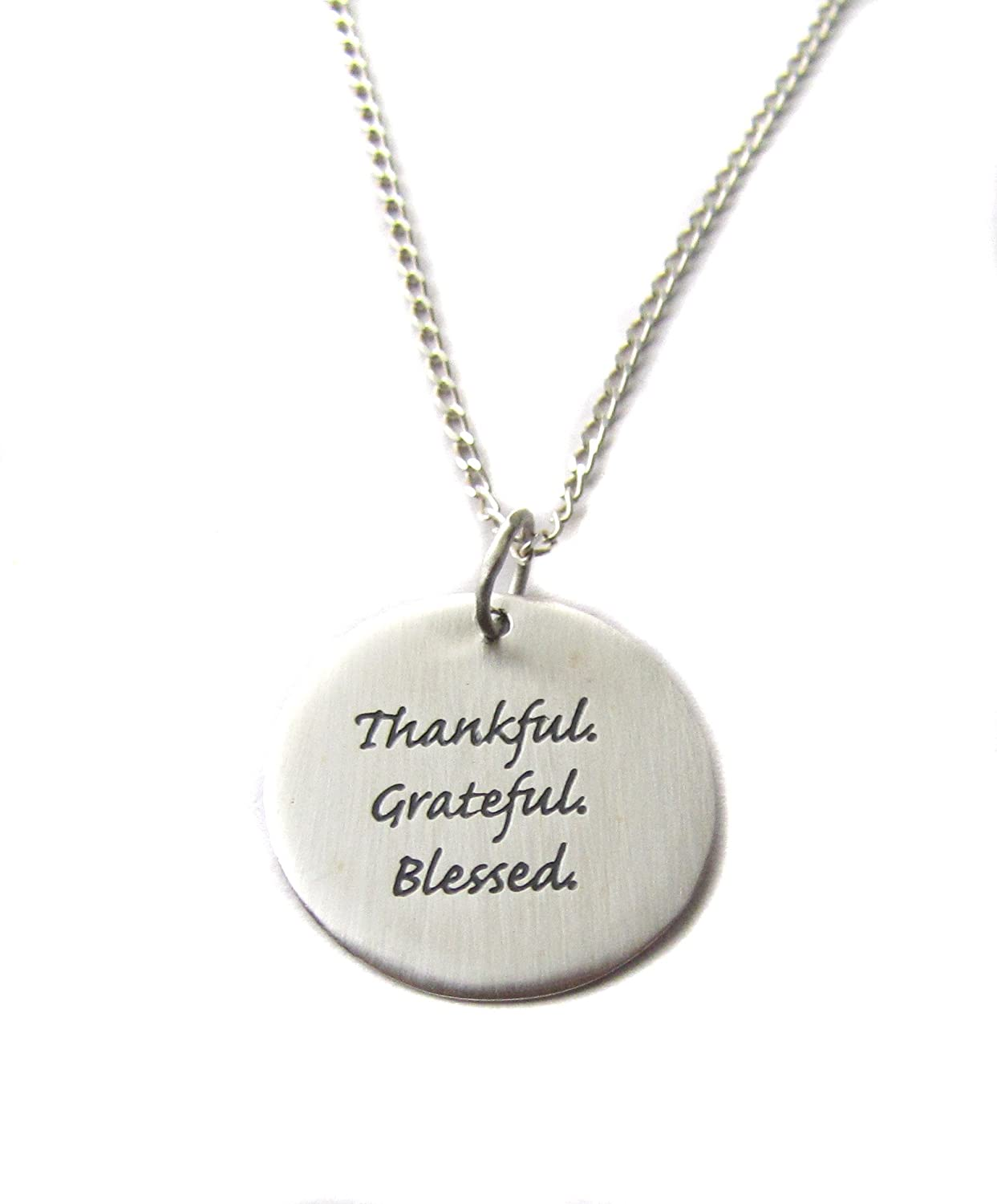 Sterling Silver Thankful Grateful Blessed Circle Charm 18 Sterling Silver Necklace