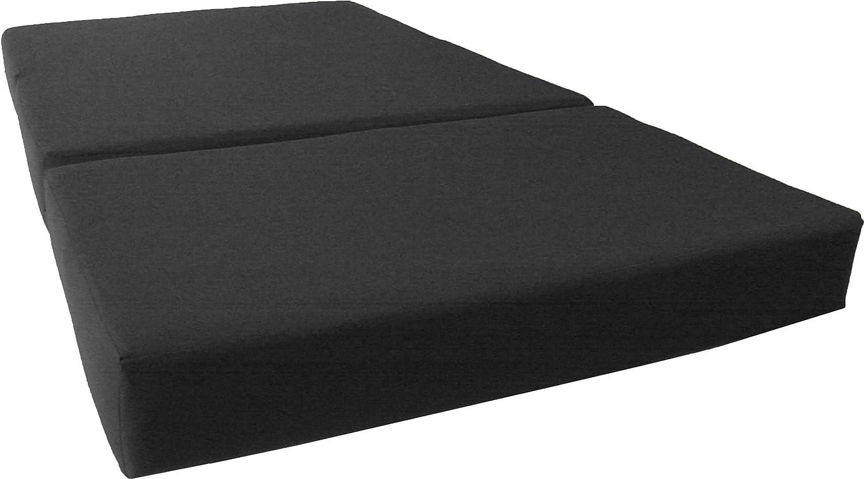 D&D Futon Furniture Trifold Foam Bed, Folding Ottoman Mattress (Black, Queen Size (6 x 60 x 80))