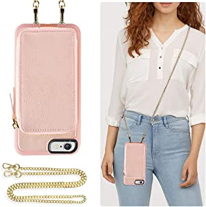 ZVE Wallet Case for Apple iPhone 6s and iPhone 6, 4.7 inch, Leather Wallet Case with Crossbody Chain Credit Card Holder Slot Zipper Pocket Purse Wrist Strap Case for Apple iPhone 6 / 6s - Rose Gold