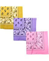 Paisley 3 piece Assorted Cotton Bandanas