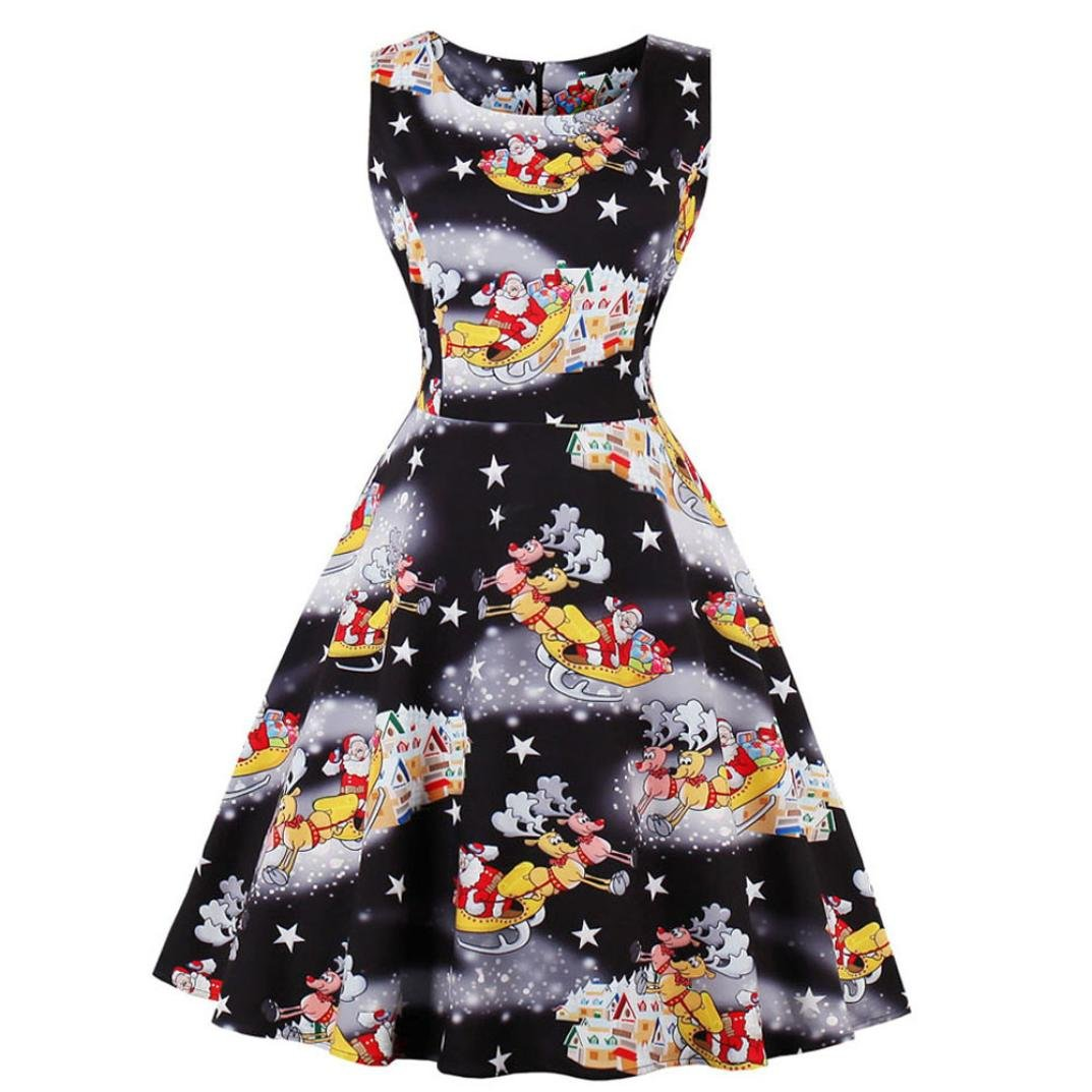 AOJIAN Plus Size Womens Santa Christmas Party Dress Vintage Xmas Swing Skater Dress
