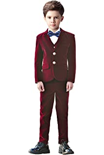 b8bc69d5d Amazon.com  Yuanlu Boys Velvet Suits 5 Piece Slim Fit Burgundy Dress ...