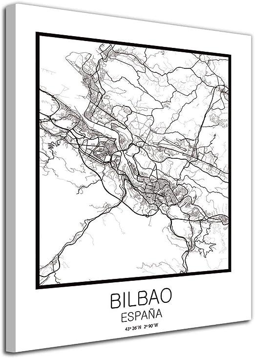 Foto Canvas Cuadro Mapa Bilbao en Lienzo Canvas Impreso Decorativo | Cuadros Modernos: Amazon.es: Hogar