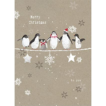 Amazon tree free greetings holiday greeting cards penguin tree free greetings holiday greeting cards penguin merry christmas vintage brown recycled paper m4hsunfo