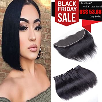 Brazilian Virgin Hair Straight With Lace Frontal Human Hair 3 Bundles With  Lace Frontal Closure Ear to Ear