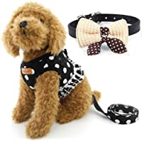 Cute Small Dog Harness, Ladies Polka Dots Dog Vest Harness Set with Pink Leash and Bowknot Collar, 3 in 1 Girl Style…