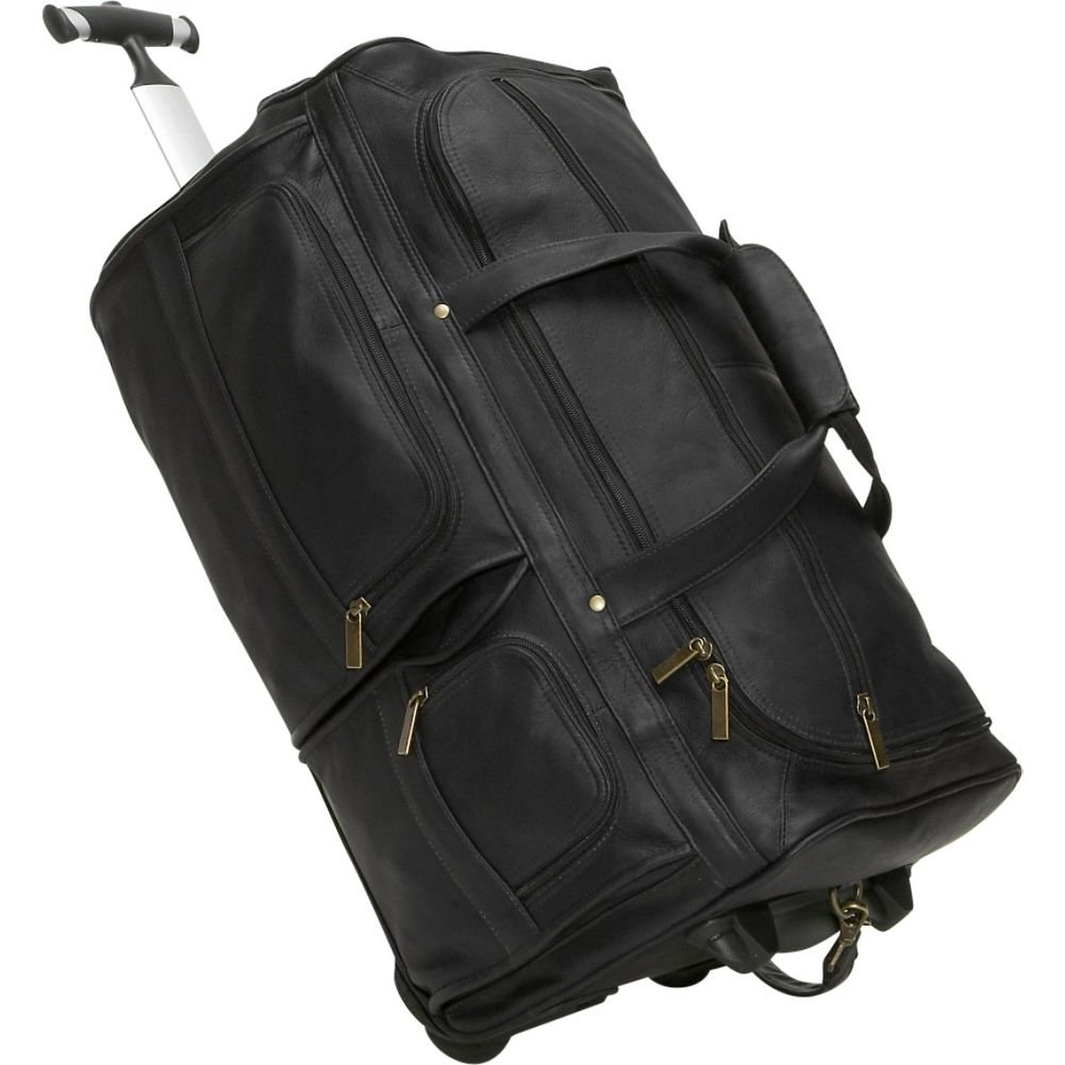 David King Leather 20 Rolling Duffel Bag in Black by David King