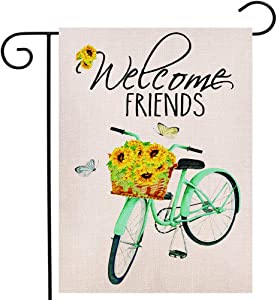 Welcome Friends Sunflower Bicycle Garden Flag 12.5x18 Inches Small Vertical Double Sided Farmhouse Burlap Yard Outdoor Décor