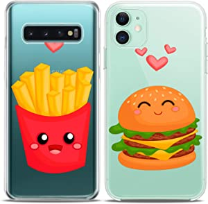 Cavka Matching Couple Cases Replacement for Samsung Galaxy S20 Note 20 5G S10e A71 A50 A11 A01 S7 S8 Fries Clear Junk Food Burger Silicone Pair Cover Kawaii BFF Girlfriend Women Cute Best Fast Gift