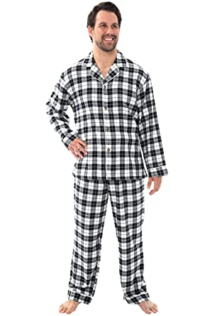 Alexander Del Rossa Mens Flannel Pajamas, Long Cotton Pj Set, Small Black and White