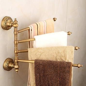 X&D Toalleros Toalleros para Baño Montaje En Pared Barra De Toalla 4 Brazos Retro Brass Color