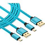 Power-7 Android Charging cable, 10Ft (2-Pack) Extra Long Micro USB Cable Nylon Braided Fast Charger Cord for Samsung Galaxy S7/S6 Edge, LG G4 G3, Moto G5 Plus, HTC One M9 M8, More (Blue)