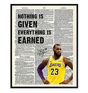 LeBron James Quote Dictionary Art - 8x10 Inspirational Photo, Motivational Poster - Unique Home Decor for Office, Classroom, Gym- Gift for Teachers, Basketball Fans, Entrepreneur, Athlete, Trainer