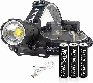 JaxTec Linterna frontal LED de 12000 lúmenes, linterna frontal LED superbrillante, linterna manos libres para camping, equitación, correr, pasear al ...