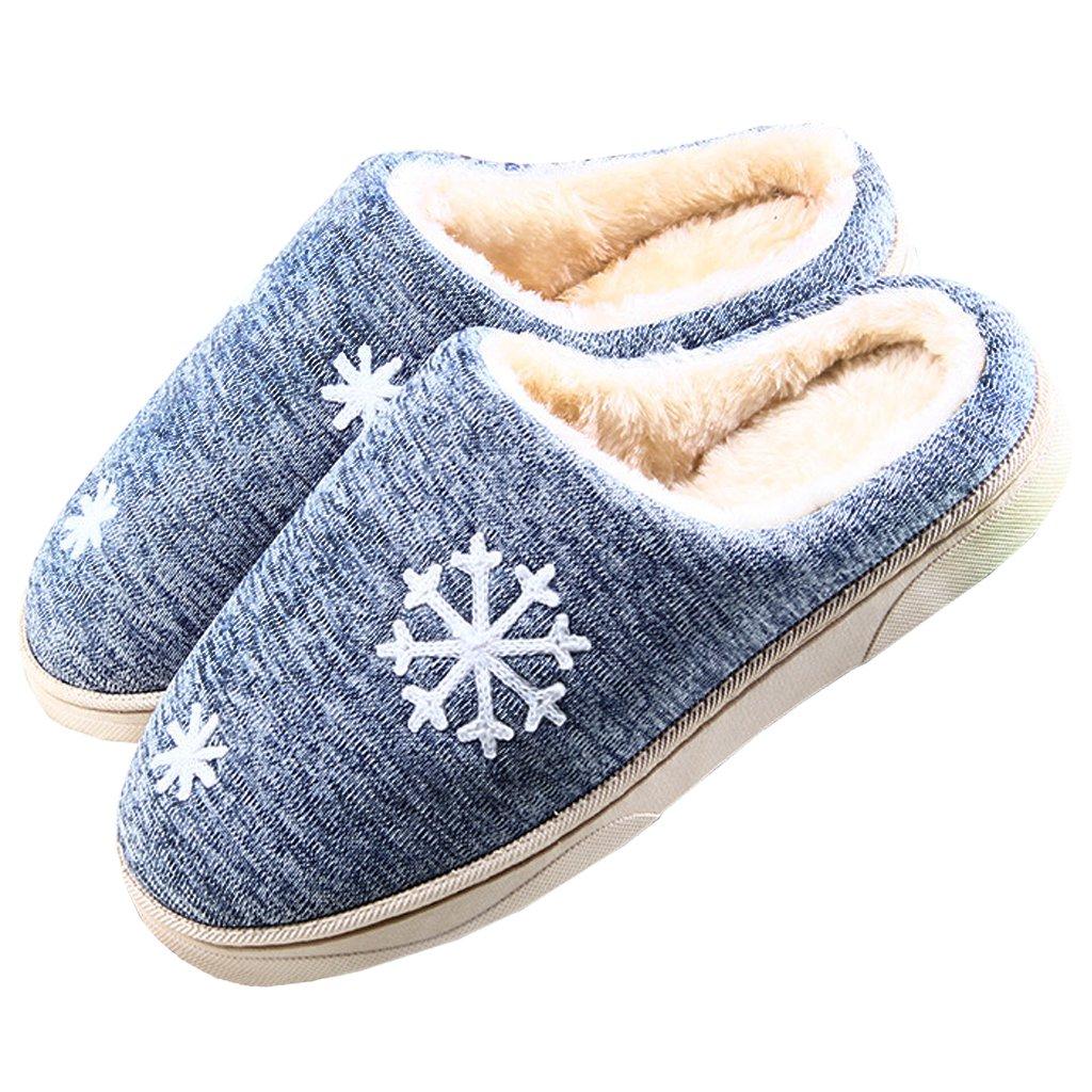 JACKSHIBO Damen Herren Plüsch Baumwolle Pantoffeln Weiche Leicht Wärme Hausschuhe Rutschfeste Slippers Für Unisex grau EU 44/45 itKuZ35