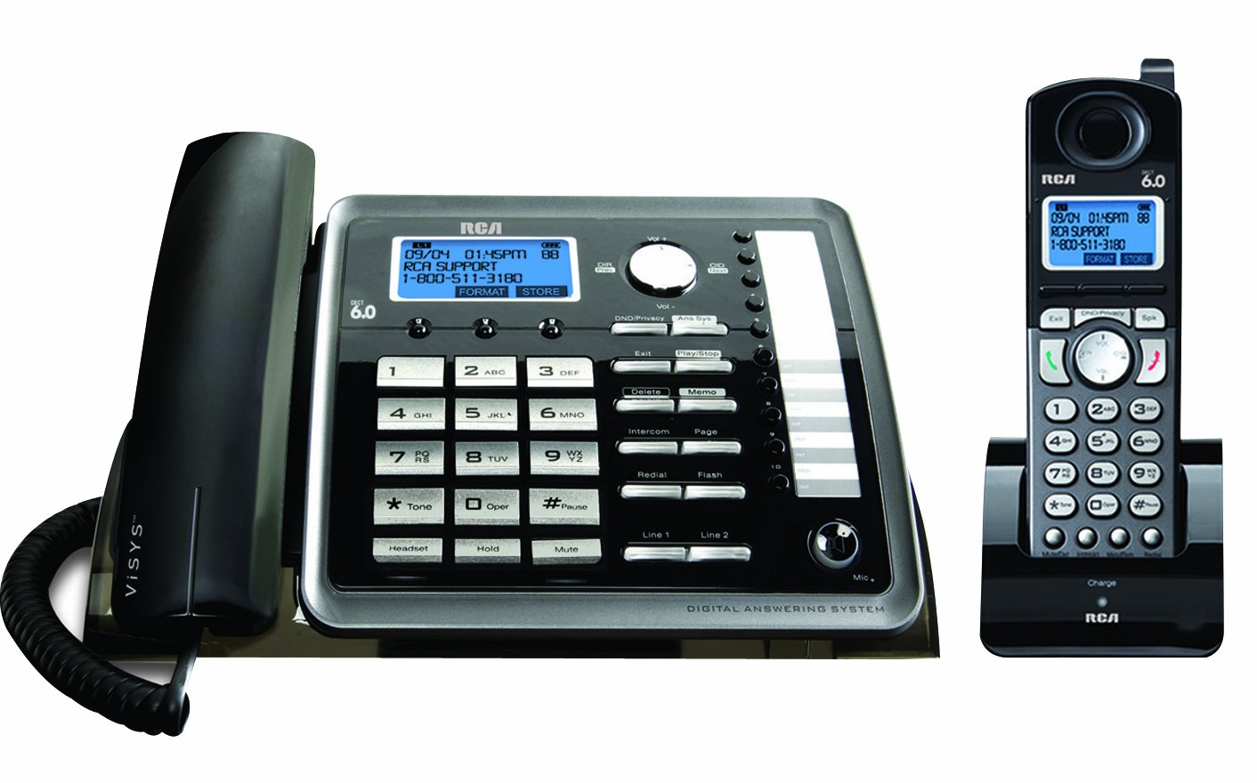 RCA 2-Line Corded//Cordless Expandable Phone