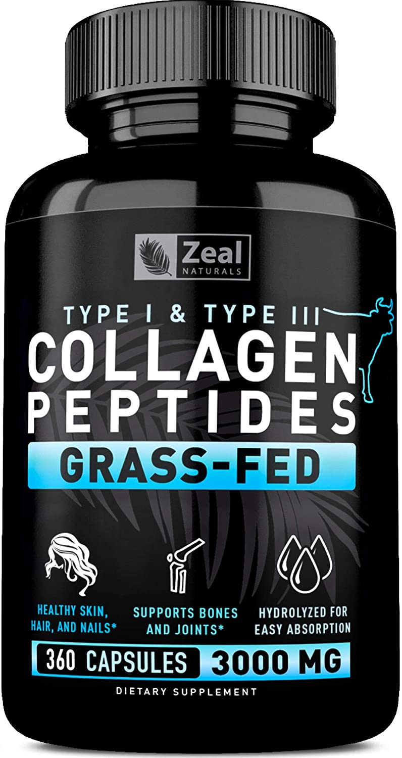Pure Collagen Peptides Collagen Pills (360 Capsules) 100% Grass Fed Collagen Protein Powder - Hydrolyzed Collagen Powder for Joint and Tendon ...