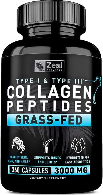 Pure Collagen Peptides Collagen Pills (360 Capsules) 100% Grass Fed Collagen Protein Powder