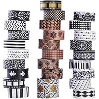 Washi-masking-tape-set, 27 rollen, klassieke washitape in zwart en wit met decoratief design, washi-tape voor doe-het…