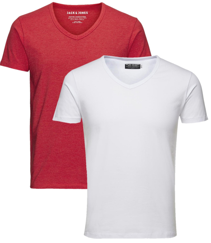 JACK & JONES Herren 2er Pack T-Shirt Basic V-Ausschnitt 12059219:  Amazon.de: Bekleidung