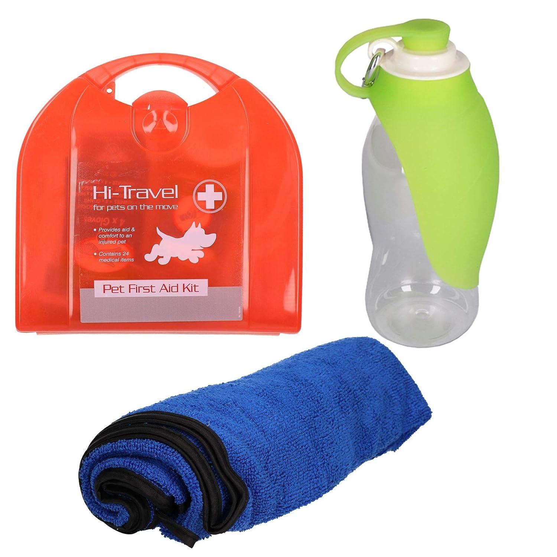 Pet Dog Car Travel Kit Road Trip 24pc First Aid Kit, Towel & Portable Leaf Bottle