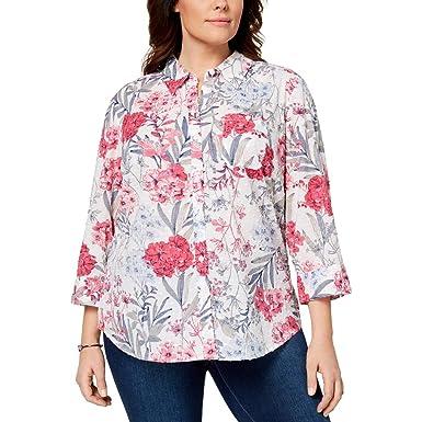 cb53bc364d2cd Karen Scott Plus Size Cotton Floral-Print Shirt at Amazon Women s ...