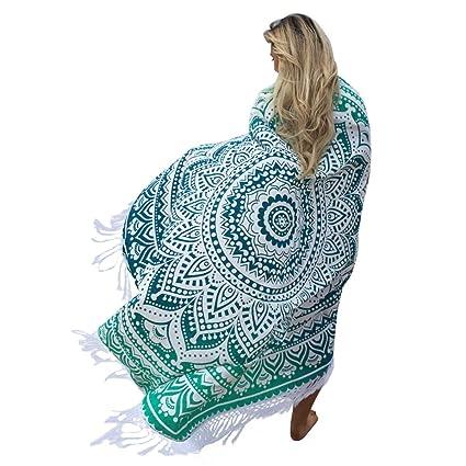 Toalla de playa Hippie, senyang Ombre redondo Mandala de artesanía borlas toalla de playa,