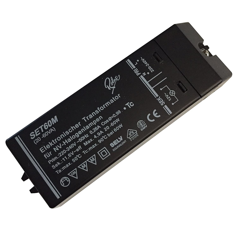 Elektronischer Halogen Trafo 60W Dimmbar Soft Start Leistungsbereich 20 bis 60W