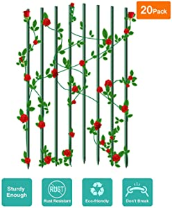 """Ecostake Garden Stakes 0.25""""Dia, 2-Ft for Climbing Plants Supports Pole 20 Pack Rust-free Plant Sticks Fence Post, Dark green"""